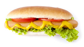 Hot Dog. Hot Dog and Drink isolated on white Stock Images
