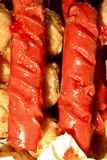 Hot dog. A crisp close up of a chili cheese dog with the focus being on the end of the hot dog Stock Image