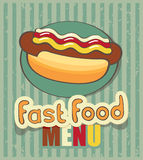 Hot dog. Banner for fast food with a hot dog Royalty Free Stock Photography