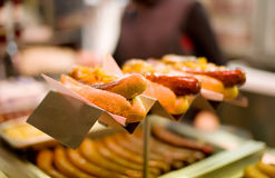 Hot-dog. (Grilled sausages) (bokeh royalty free stock images