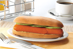 Hot dog. Delicious hot dog with cucumber slices Stock Images