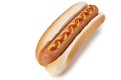 Hot dog. A hot dog on a white background royalty free stock photography