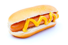 Hot dog. With mustard, on a white background Royalty Free Stock Images