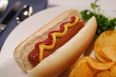 Hot Dog. A stock image of a hot dog on a bun, chips and parsley. Shallow depth of field royalty free stock image
