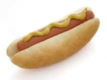 Hot dog 3. Close up of hot dog sausages and bread roll on white background  with clipping path, shadow not included Royalty Free Stock Images