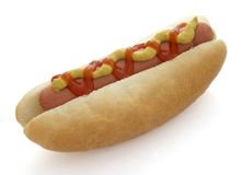 Hot dog 4. Close up of hot dog sausages and bread roll on white background  with clipping path, shadow not included Stock Image