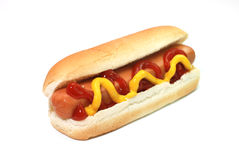 Hot Dog. With ketchup and mustard isolated on white background Stock Photography