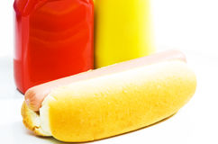 Hot dog. With ketchup and mustard on white background Royalty Free Stock Photos