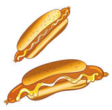 Hot dog, alimenti a rapida preparazione Fotografia Stock Libera da Diritti