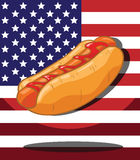 Hot dog. America Flag background Stock Image