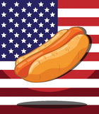 Hot dog. America Flag background Royalty Free Stock Photo