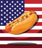 Hot dog. America Flag background Stock Photo