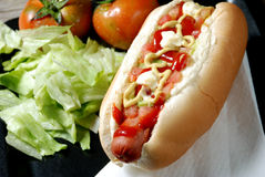 Hot Dog And Vegetables Stock Photo