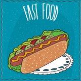 Hot-dog appétissant dans le style fait main de bande dessinée illustration de vecteur