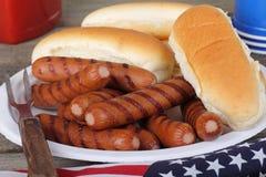 Hot dog arrostiti e panini Fotografia Stock