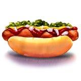 Hot-dog avec de la moutarde de ketchup et légumes Image libre de droits