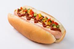 Hot-dog avec des condiments  Images libres de droits