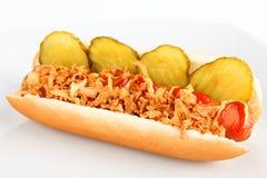Hot-dog avec le concombre et les oignons Image stock