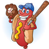 Hot Dog Baseball Cartoon Character Stock Image