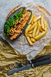 Hot dog with beef kebab and caramelized onions. Grey background, side view. royalty free stock photos