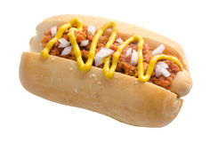 Hot dog with beef sauce on the white background Royalty Free Stock Photos