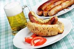 Hot dog and beer Stock Photos
