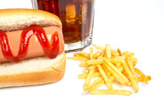 Hot-dog, bicarbonate de soude et pommes frites Image stock