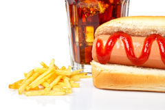 Hot-dog, bicarbonate de soude et pommes frites Images libres de droits