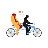 Hot dog on bicycle. Lovers of cycling. Man rolls fast food on ta Royalty Free Stock Image