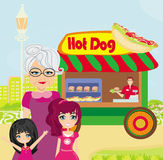Hot dog booth stand in the city Royalty Free Stock Photography