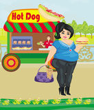 Hot dog booth stand in the city Royalty Free Stock Image