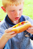 Hot Dog Boy Royalty Free Stock Images