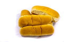 Hot-Dog-Brötchen-Weißfische Abendessen dort gerade schauend Lizenzfreie Stockfotografie