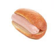 Hot dog bread and sausage roll. Stock Photo