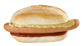 Hot dog. Bread, wurstel, mustard and ketchup Royalty Free Stock Image