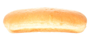 Hot Dog Bun. One empty hot dog bread bun. Isolated on white stock photos