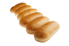 Hot dog bun rolls in perspective Royalty Free Stock Images