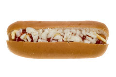 Hot dog in a bun with sauce Stock Photo