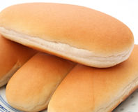 Hot Dog Buns. Some hot dog buns made of wheat flour royalty free stock photos