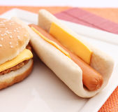 Hot dog and burger Stock Photography