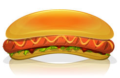 Hot Dog Burger Icon. Illustration of an appetizing cartoon fast food hot dog burger icon, with frankfurter sausage, mustard sauce, salad leaves, ketchup and long Stock Photo
