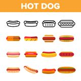 Hot Dog, Burger Vector Color Icons Set. Hotdog With Sausage, Bread And Sauce Linear Symbols Pack. Takeout, Takeaway Unhealthy Eating, Fastfood. Delicious royalty free illustration