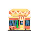 Hot Dog Cafe Front in Christmas. Vector Royalty Free Stock Photography