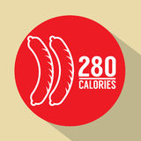 Hot Dog 280 Calories Symbol Royalty Free Stock Images