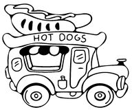 Hot dog car coloring pages Royalty Free Stock Image