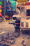 Hot dog car at Times Square. (Nashville effect photo) Royalty Free Stock Photography