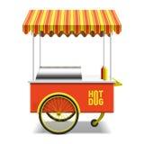 Hot dog, carretto della via Fotografia Stock