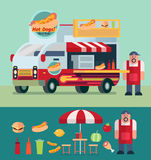 Hot dog cart and food truck with shop owner vector illustration Royalty Free Stock Photography