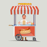 Hot-dog cart with seller -  Royalty Free Stock Photo