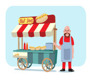 Hot dog cart with shop owner vector illustration. Hot dog street cart with sale man Royalty Free Stock Photo